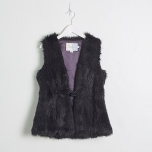 Boden Black Faux Fur Vest